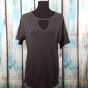 NWT Calvin Klein Performance Textured Keyhole Top